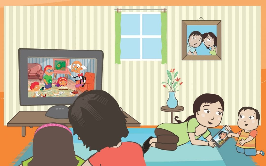 Niños y niñas frente a las pantallas